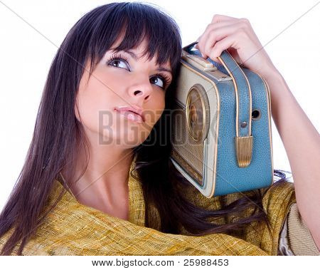 Pretty caucasian woman  with handhold radio