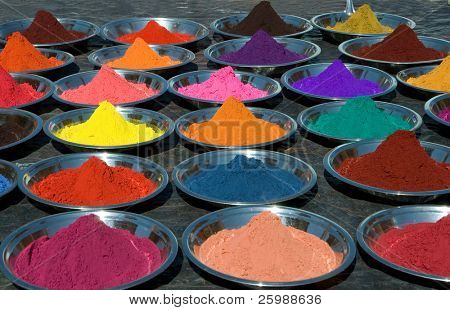 colorful tika powders on indian market, india
