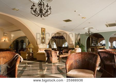 Modern luxury hotel lobby room interior,Cyprus