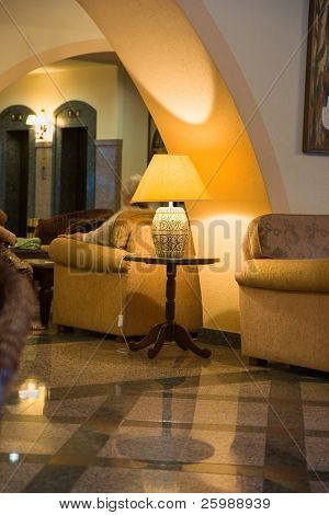 Luxury  daily room with table chair lamp