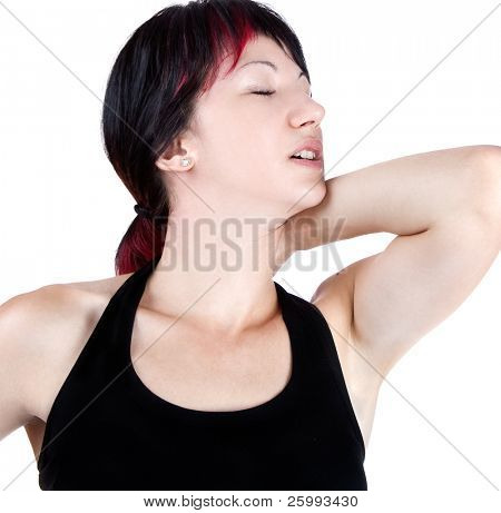 expressive portrait of woman who has neck pain, studio shot
