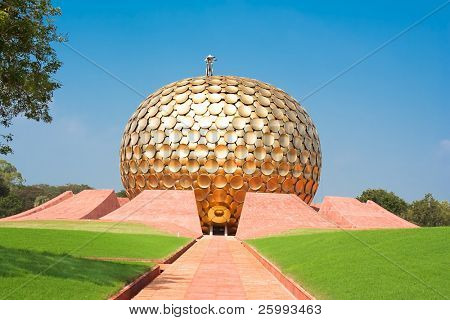 Auroville meditation hall. Auroville is a  human unity where people could live in peace and progressive harmony above all creeds, politics and nationalities. Pondicherry, Tamil Nadu state, India