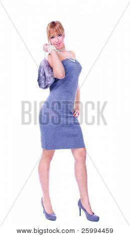 Beautiful blondy with  bag  walking, studio shot