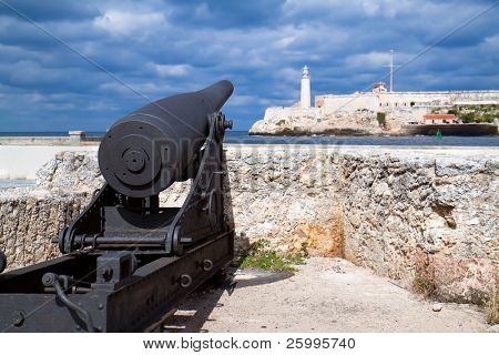 Old Cannon  looking at castle los Tres Santos Reyes Magnos del Morro, Havana,  cuba