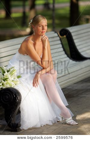 Attractive Bride Looking Pensive