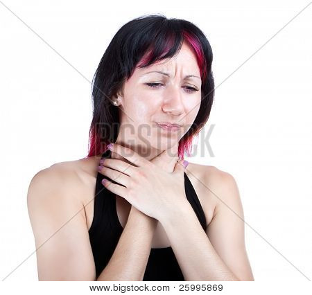 Expressive portrait of woman who has sore throat , studio shot