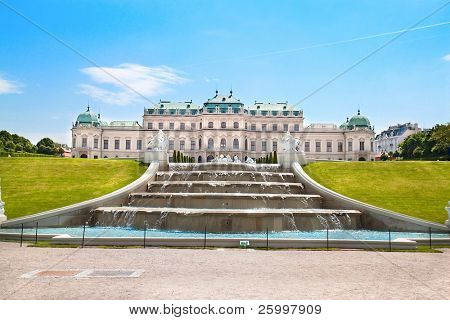 Belvedere Palace with fountain and beautiful garden ,Vienna, Austria
