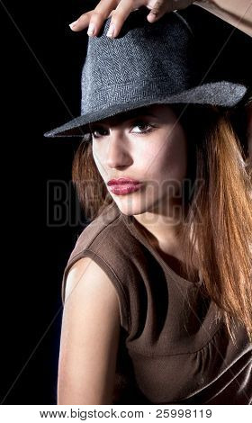 Beautiful fashion woman portrait with grey hat, close up