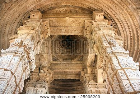 The beautiful fine art on pillars and ceiling of Sasbahu, or Mother-in-Law and smaller Daughter-in-Law temples in Gwalior, Madhya Pradesh, India