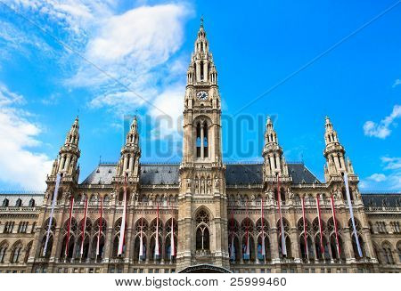 Close up Tall gothic building of Vienna city hall, Austria
