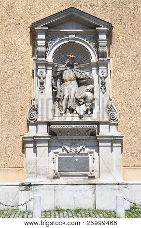 Heinrich Jasomirgott statue on Schottenstift church, Vienna, Austria