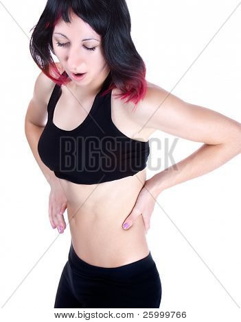 Woman has a Lower back pain, close up