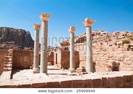 Remains of the Blue Church. Ancient city of Petra, Jordan