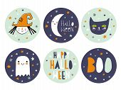 Funny Hand Drawn Halloween Candy Bar Tags. Cute Halloween Cartoons. Infantile Style. Moon, Cat And L poster