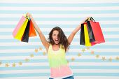 A Good Buy. Happy Girl Show Shopping Bags. Happy Girl After Day Shopping With Good Buy. Woman With P poster