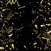 Golden Confetti. Gold Texture Glitter On A Black Background. Element Of Design. Golden Abstract Text poster