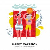 Elderly Couple Seaside Sunbathing On Bright Red Beach Towel Colorful Cartoon Vacation Accommodation  poster