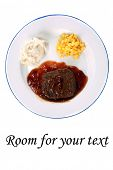 pic of frozen tv dinner  - salisbury steak tv dinner with mashed potatoes and corn on a white plate - JPG
