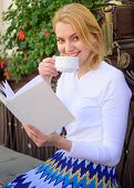 Woman Have Drink Cafe Terrace Outdoors. Mug Of Good Coffee And Interesting Book Best Combination For poster