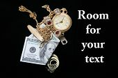 cash for gold and jewelry, isolated on black velvet with room for your text. text is easily removed