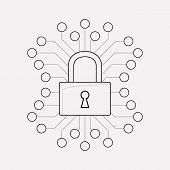 Cyber Security Icon Line Element.  Illustration Of Cyber Security Icon Line Isolated On Clean Backgr poster