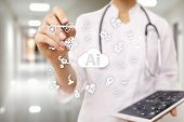 Ai, Artificial Intelligence, In Modern Medical Technology. Iot And Automation. poster