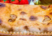 Tuna Pie. Typical Galician Dish (galicia) And Spain. With Natural Ingredients Such As Tomato, Onion, poster