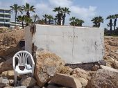 An Abandoned White Painted Concrete Bunker In Paphos Cyprus Dating From The Civil War Era With Broke poster