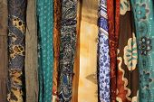 Macro Bohemian style fabrics soft focus, Boho fabric background materials, pretty floral textile bac poster