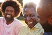 Senior black man laughing with his two adult sons, close up poster