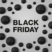 Black Friday Banner Template. Black Friday Black Letters And Black Pearls Around On White Background poster