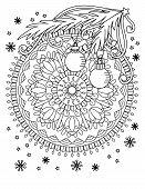 Christmas Mandala Coloring Page. Adult Coloring Book. Holiday Decore, Balls And Snowflake. Hand Draw poster