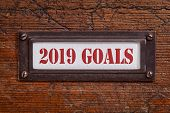 2019 goals  - a label on a grunge wooden file cabinet, New Year goals and resolutions concept poster
