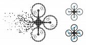 Quadcopter Screw Rotation Icon In Fractured, Pixelated Halftone And Undamaged Variants. Cells Are Gr poster