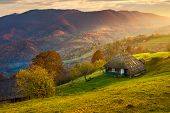 Gorgeous Mountainous Countryside At Sunrise. Beautiful Rural Area. Village On The Hillside poster