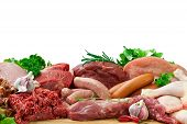 Raw Fresh Meat Ingredients On Board With Condiments poster