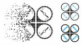 Quadcopter Screws Rotation Icon In Dissolved, Pixelated Halftone And Undamaged Variants. Particles A poster