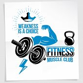 Weightlifting Club Promotion Flyer. Vector Composition Created Using Athletic Sportsman Biceps Arm W poster
