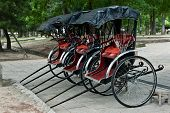 foto of rickshaw  - Three rickshaws in the park of Nara - JPG