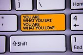 Handwriting Text Writing You Are What You Eat. You Are What You Love.. Concept Meaning Start To Eat  poster