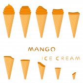 Vector Illustration For Natural Mango Ice Cream On Waffle Cone. Ice Cream Pattern Consisting Of Swee poster