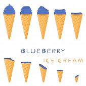 Vector Illustration For Natural Blueberry Ice Cream On Waffle Cone. Ice Cream Pattern Consisting Of  poster