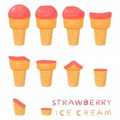 Vector Illustration For Natural Strawberry Ice Cream On Waffle Cone. Ice Cream Pattern Consisting Of poster
