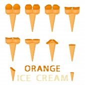 Vector Illustration For Natural Orange Ice Cream On Waffle Cone. Ice Cream Pattern Consisting Of Swe poster