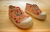 Beautiful Childrens Light Spring Shoes With Floral Design. poster