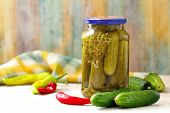 Preparing Homemade Pickles. Preserving Pickled Cucumbers. Glass Jar With Homemade Preservation. poster
