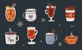 Vector Collection Of Hot Drinks. Hot Chocolate, Coffee, Cocoa With Whipped Cream And Marshmallow, Mu poster
