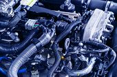 Car Engine. Car Engine Part. Close-up Image Of An Internal Combustion Engine. Engine Detailing In A  poster