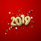 Realistic 2019 Golden Numbers And Festive Confetti, Stars And Spiral Ribbons On Red Background. Vect poster