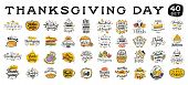 Thanksgiving Day. 40 In 1. Logo, Text Design. Typography For Greeting Cards And Posters. Give Thanks poster